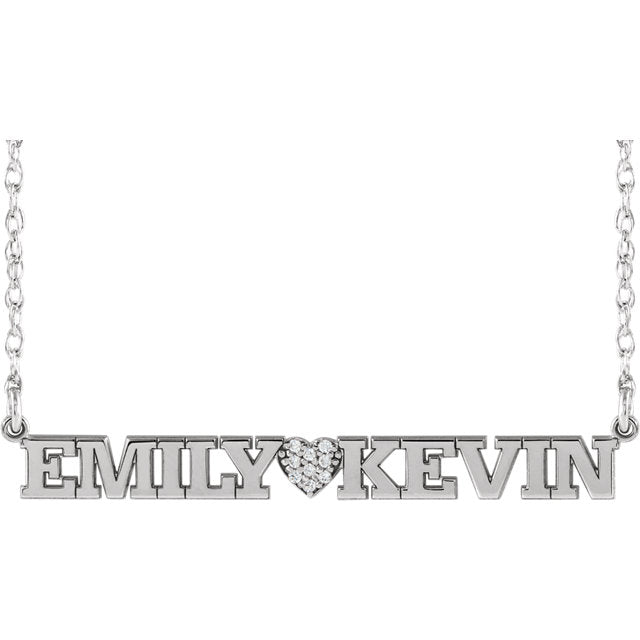 Accented Couples Nameplate Necklace