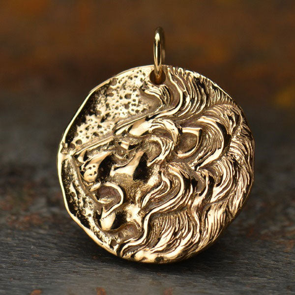 Ancient Coin Charm - Lion Head - Poppies Beads n' More