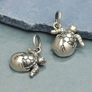 Sterling Silver Baby Sea Turtle Charm - Poppies Beads n' More