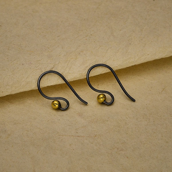 Black Finish Simple Ear Wire with Bronze Ball,
