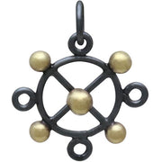 Black Finish Circle Charm with X and Bronze Dots - Poppies Beads n' More