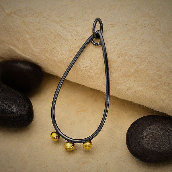 Black Finish Teardrop Charm with Bronze Dot Drops