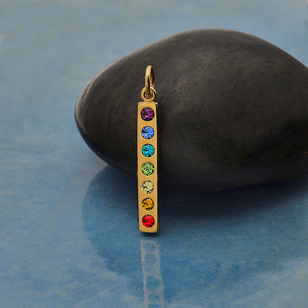 Sterling Silver Chakra Pendant with Swarovski Crystal,