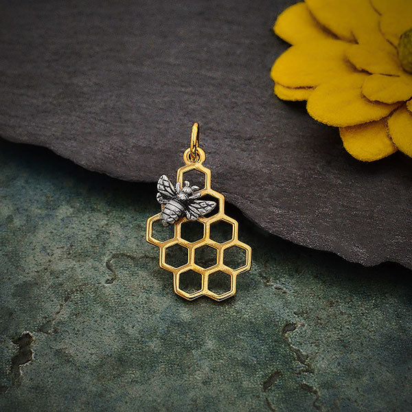 Honey Bee Charm on Honeycomb