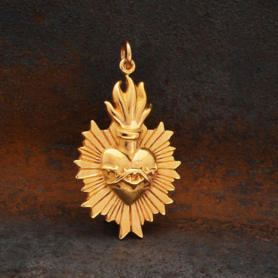 Bronze Flaming Sacred Heart Pendant with Thorns,