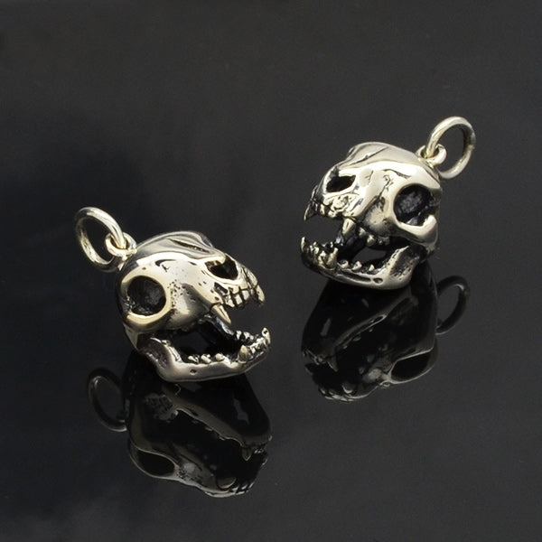 Sterling Silver Cat Skull Charm - Halloween Charm