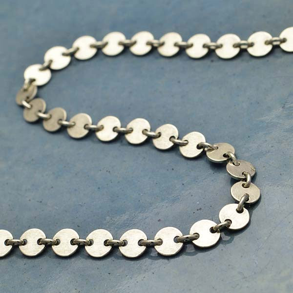 Sterling Silver Chain by the Foot - Round Circle Disk Links,