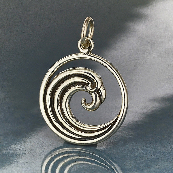 Sterling Silver Curled Wave Charm