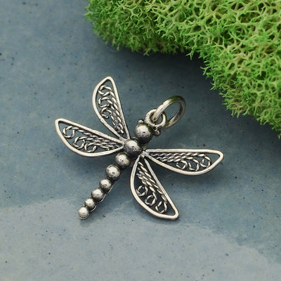 Sterling Silver Dragonfly Charm with Filigree Wings,