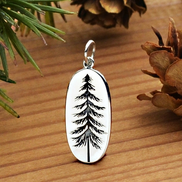Sterling Silver Pine Tree Charm Etched on an Oval, Nina Designs