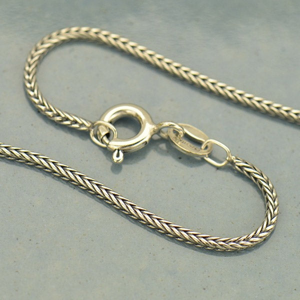Sterling Silver Finished Chain - Round Foxtail Chain - Poppies Beads n' More