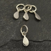 Sterling Silver Flat Tiny Teardrop Charm - Poppies Beads n' More