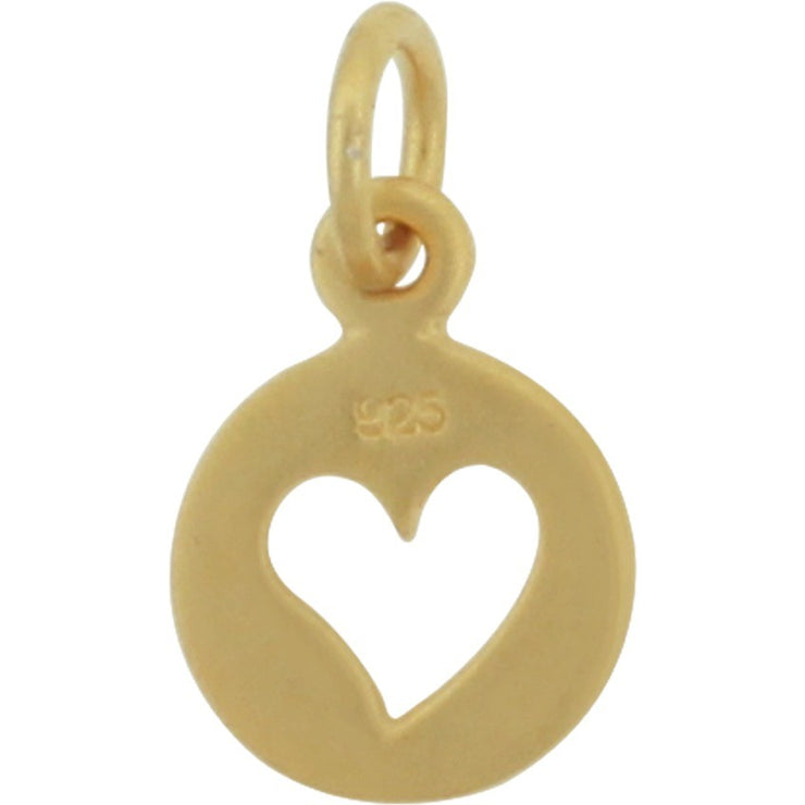 Tiny Disk with Heart Cutout Charm - Poppies Beads n' More