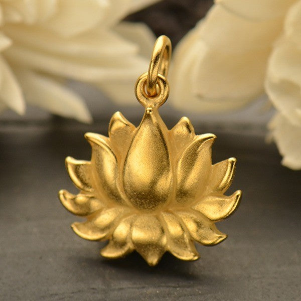 Large Textured Blooming Lotus Charm, - Poppies Beads n' More