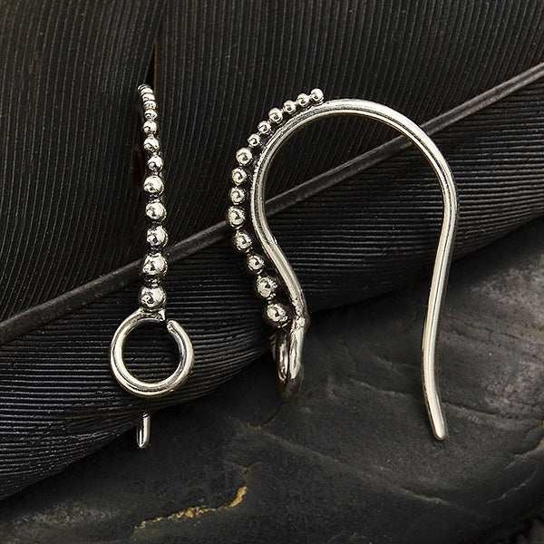 Sterling Silver Granulated Ear Hook with Front Facing Loop,
