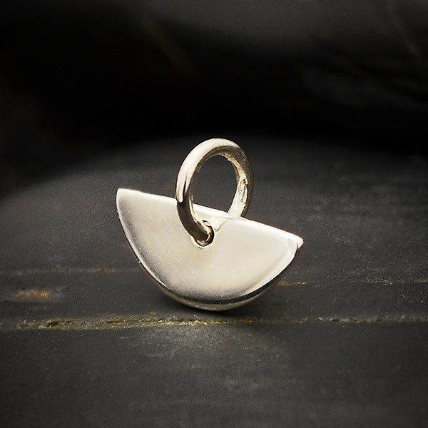 Tiny Sterling Silver Half Moon Charm