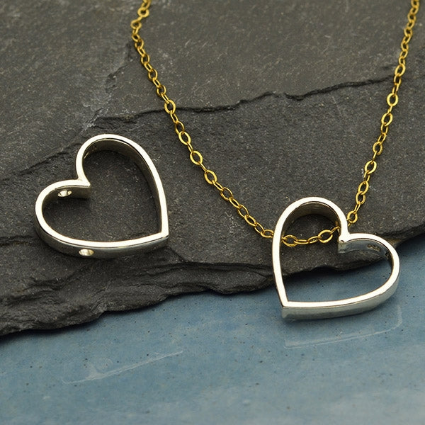 Sterling Silver Heart Bead Frame with Holes, Nina Designs