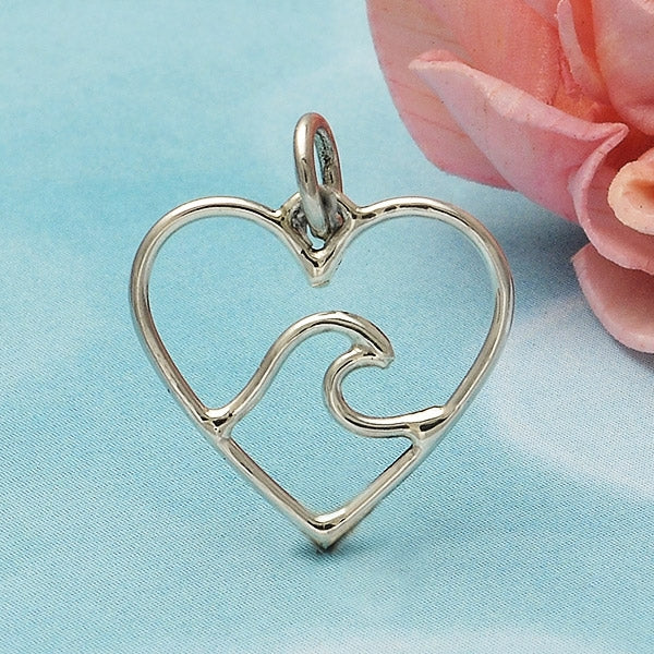 Sterling Silver Heart Charm with Wave - Ocean Charm, Nina Designs