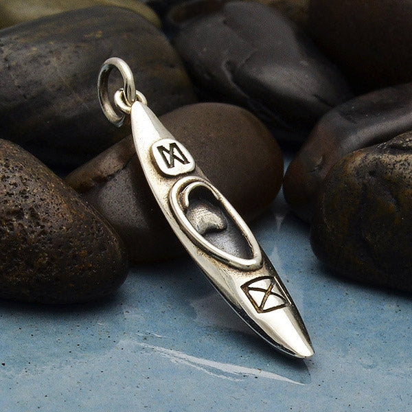 Sterling Silver Kayak Charm - Sports Charms,