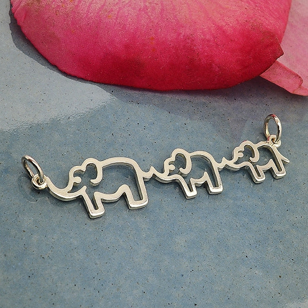Sterling Silver Mama and Two Baby Elephant Pendant
