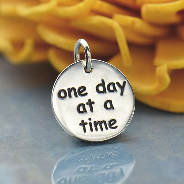 Sterling Silver Message Charm - One Day At A Time,