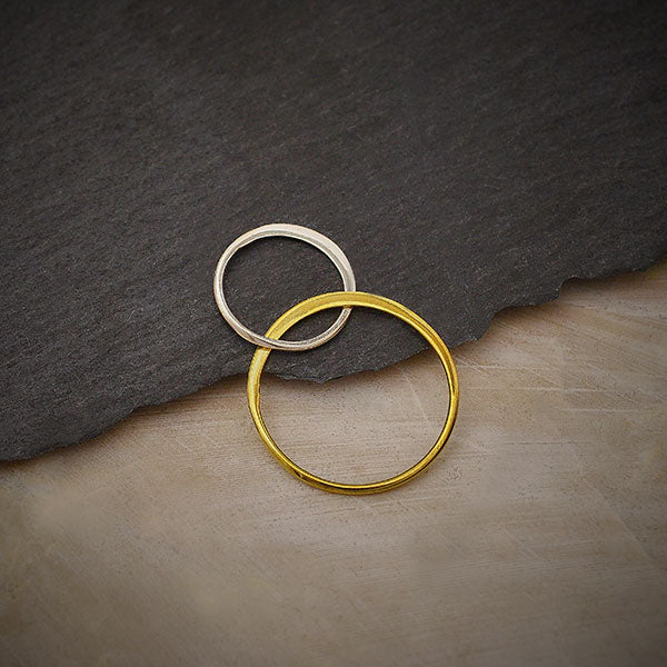 Mixed Metal Silver and Bronze 2 Circles Link,