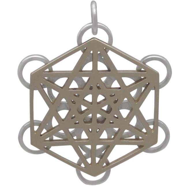Mixed Metal Metatrons Cube Sacred Geometry Pendant - Poppies Beads n' More