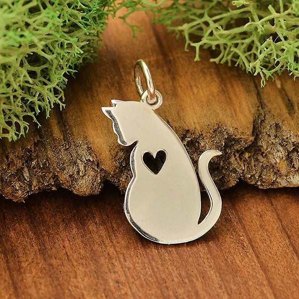 Sterling Silver Mommy and Baby Cat Charm - Set or Separate Charms,