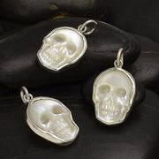 Hand Carved Mother of Pearl Skull Charm - Poppies Beads n' More