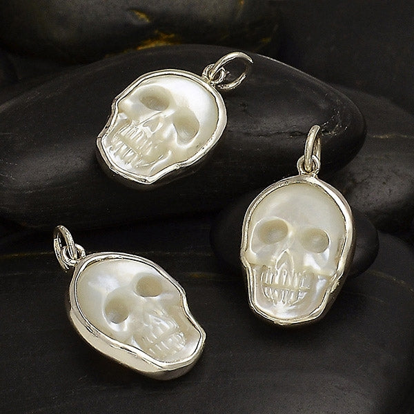 Hand Carved Mother of Pearl Skull Charm,