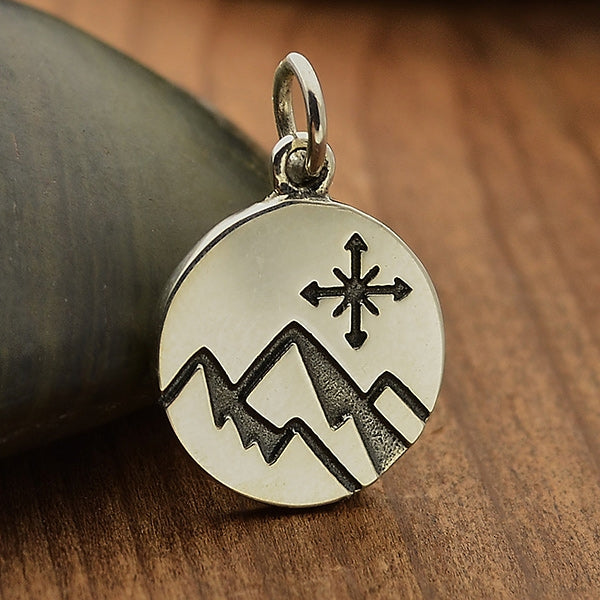 Mountain Charm with Compass on disk