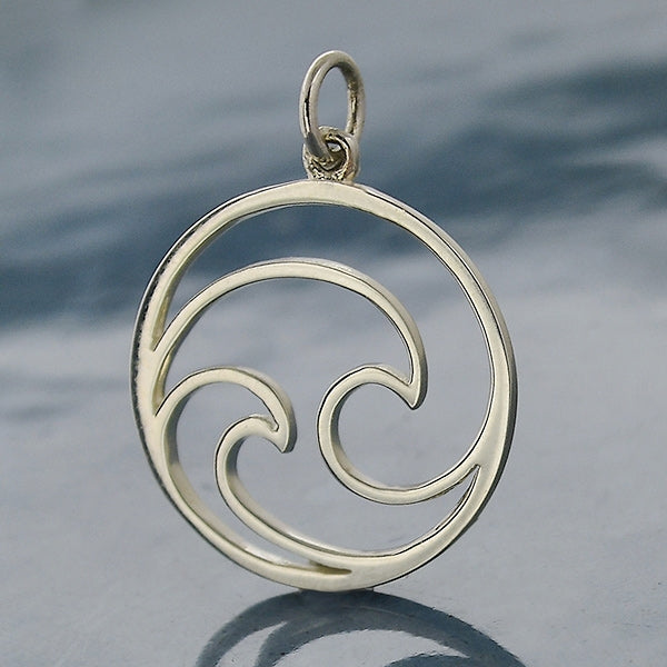 Sterling Silver Openwork Double Wave Charm, Nina Designs