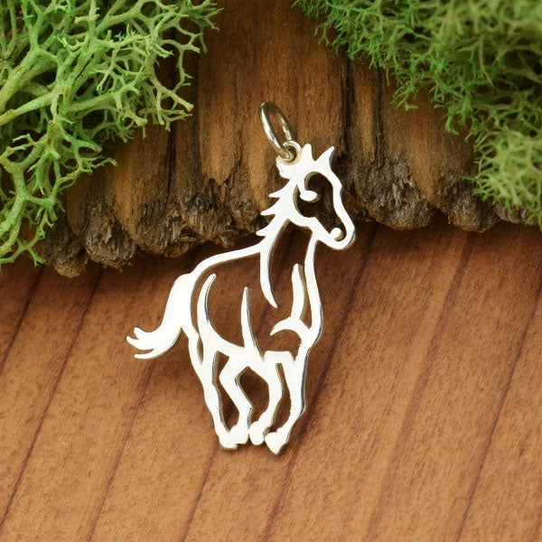 Sterling Silver Horse Pendant - Openwork Horse Charm, Nina Designs