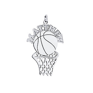 14kt Gold Basketball and Hoop Personalized Necklace