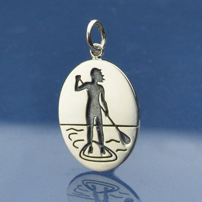 Sterling Silver Stand Up Paddle Girl Charm, - Poppies Beads n' More