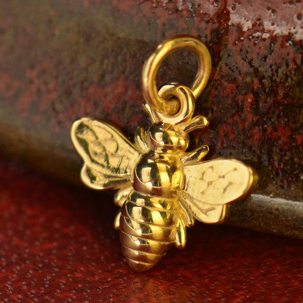Small Honeybee Charm - Poppies Beads n' More