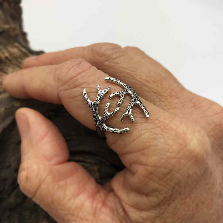 Sterling Silver Adjustable Antler Ring - Poppies Beads n' More