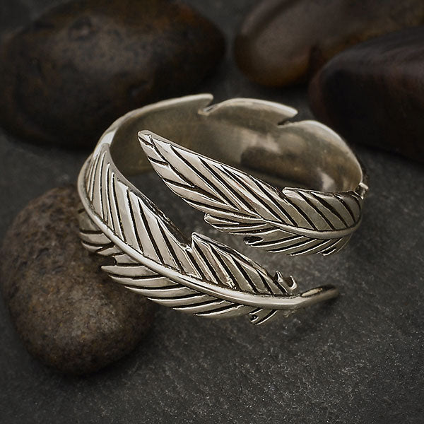 Sterling Silver Adjustable Feather Ring - Poppies Beads n' More
