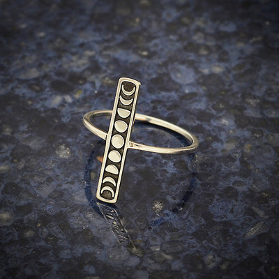 Sterling Silver Vertical Bar Ring with Moon Phases - Poppies Beads n' More