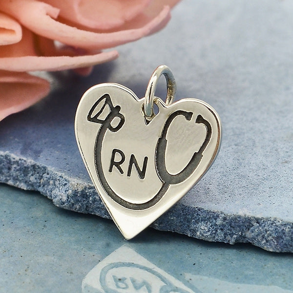 RN Heart Charm with Stethoscope