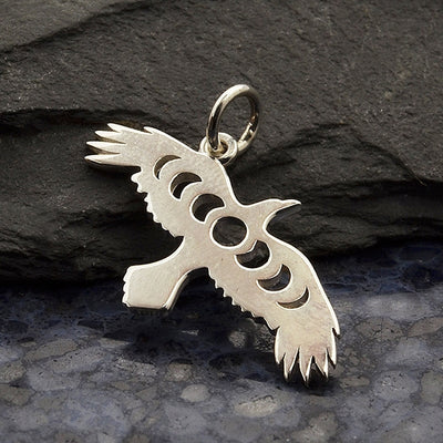 Raven Charm with Moon Phase Cutout - Poppies Beads n' More
