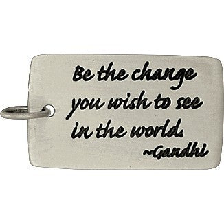 Rectangle Message Pendant: Gandhi Quote - Poppies Beads n' More