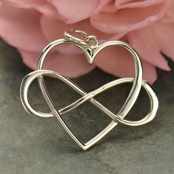 Infinity Heart Charm, - Poppies Beads n' More