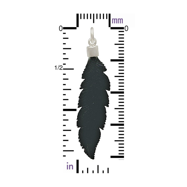 Hand Carved Black Wood Feather Pendant - Poppies Beads n' More