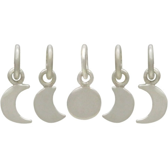 Sterling Silver Moon Phase Charm Set - 5 Moon Charms