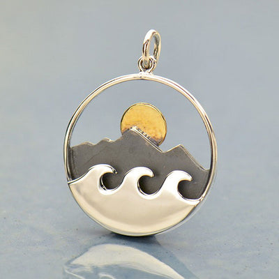Large Silver Mountain and Ocean Pendant with Bronze Sun - Poppies Beads n' More