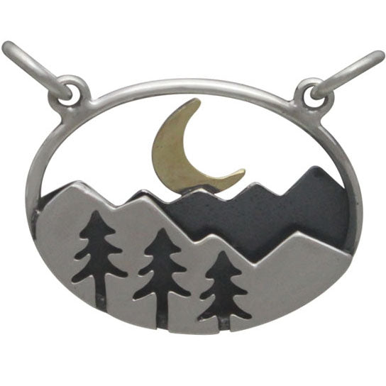 Sterling Silver Oval Mountain Pendant with Trees and Moon - Poppies Beads n' More