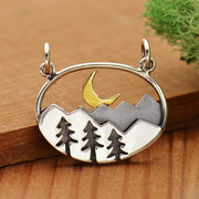 Sterling Silver Oval Moutain Pendant with Trees and Moon - Poppies Beads n' More