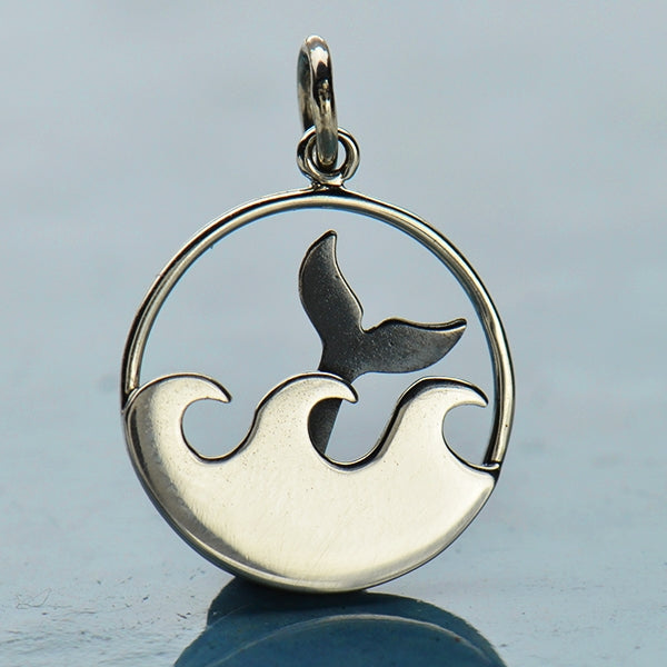 Sterling Silver Whale Tail and Ocean Waves Charm - Poppies Beads n' More