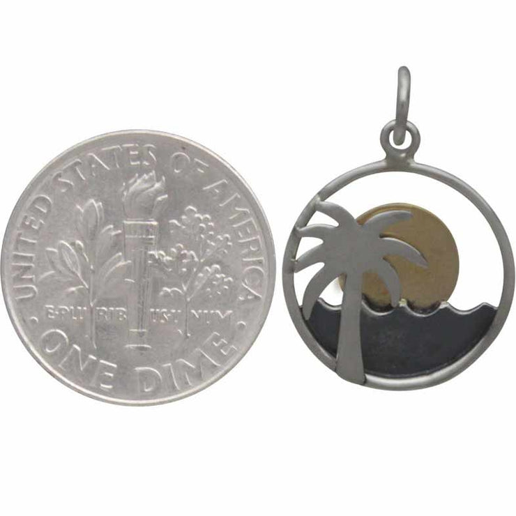 Sterling Silver Palm Tree and Ocean Charm with Bronze Sun - Poppies Beads n' More